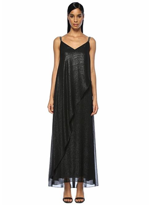 Beymen Club V Yaka Simli Uzun Şifon Elbise Siyah